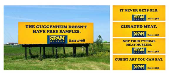 SPAM museum billboards on the way to Austin