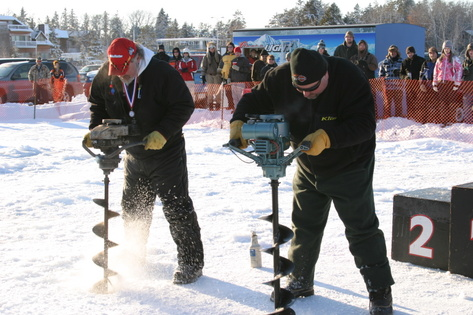 Ice auger event at Ice Fest, Breezy Point