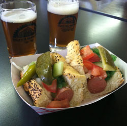 Chicago Dog with beer