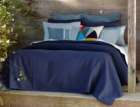 Cuyuchi bedding in Monaco blue