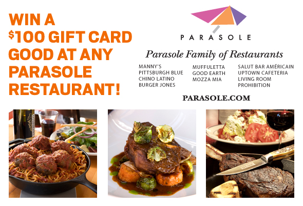 Register to win a $100 gift card good at any Parisole restaurant!