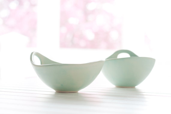 Noodle Bowl with Handle in Soft Seafoam Green, $34