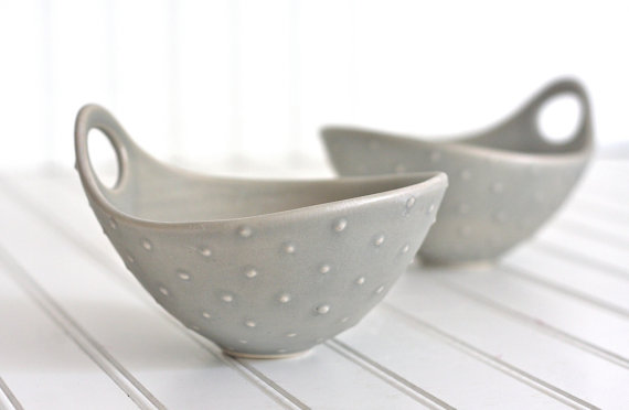 Noodle Bowl with Handle in Soft Gray Polka Dot, $34