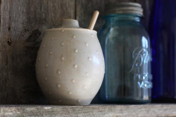 Ceramic Honey Pot in Polka Dot Gray, $38