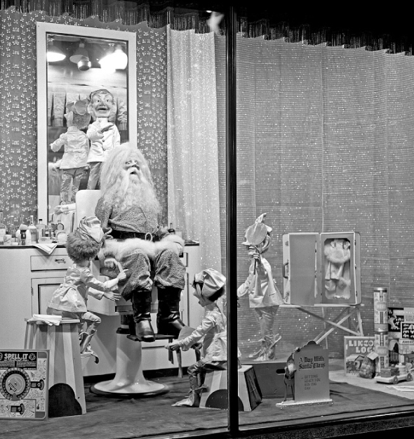 Daytons Christmas Display Santa Barbershop