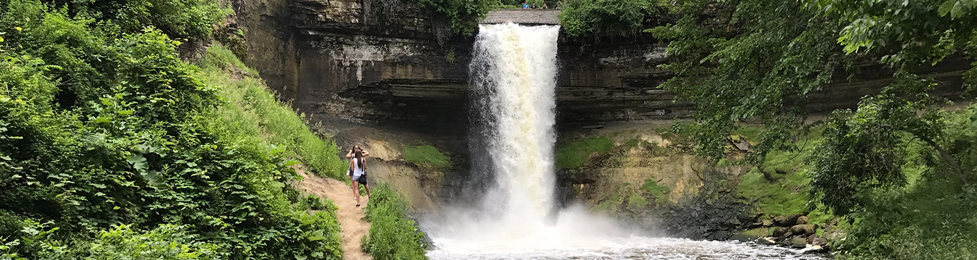 Photo of Minnehaha Falls in the summer