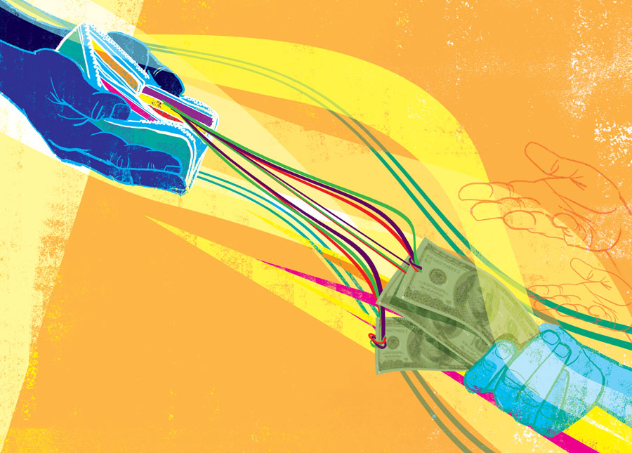 illustrations by JOHN JAY CabuaY, philanthropy, money, giving, saving money, economics, generosity, charity, giving, minnesota