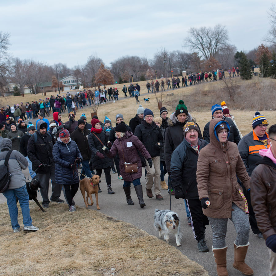 A group of people participating in the 2017 AIDS Winter Walk.