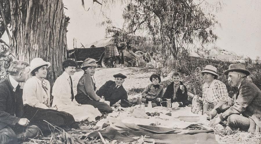 Members of the Congdon family enjoying a picnic.