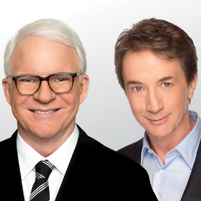 A portrait of Steve Martin and Martin Short side-by-side.