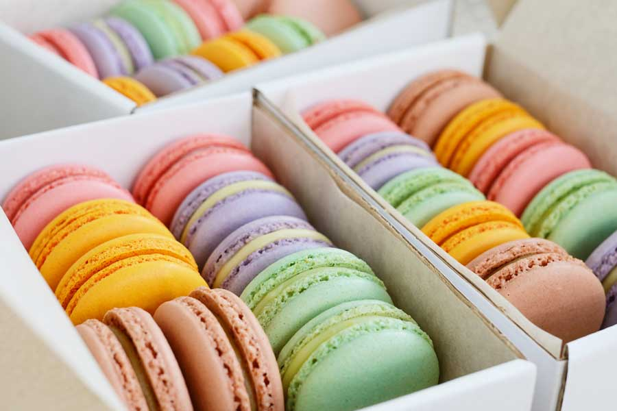 A box full of colorful macarons.