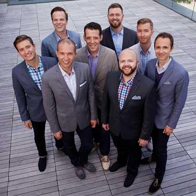 A portrait of the eight-man ensemble group, Cantus.