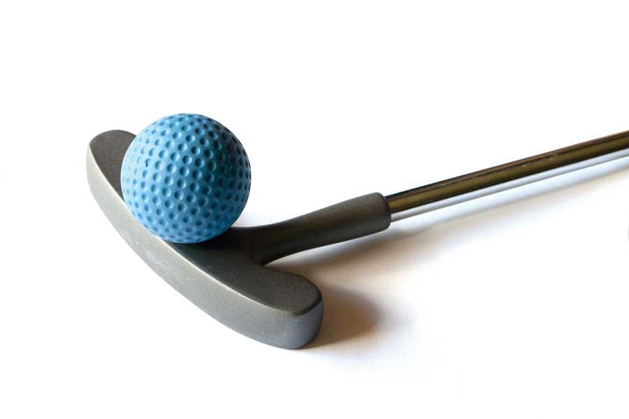 Mini golf putter and golf ball