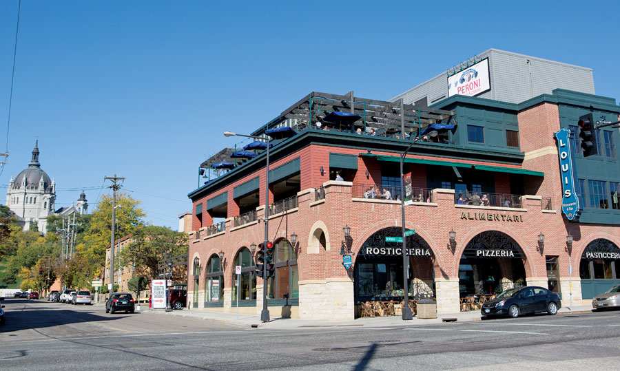 An exterior shot of Louis Ristorante and Bar on West Seventh Street in St. Paul.