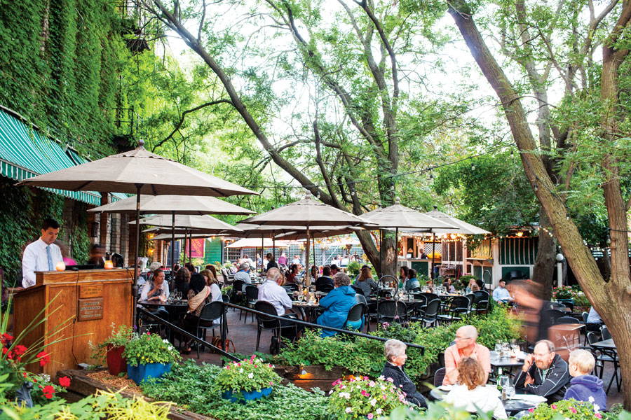 The lush, green patio at W.A. Frost at Cathedral Hill in St. Paul.