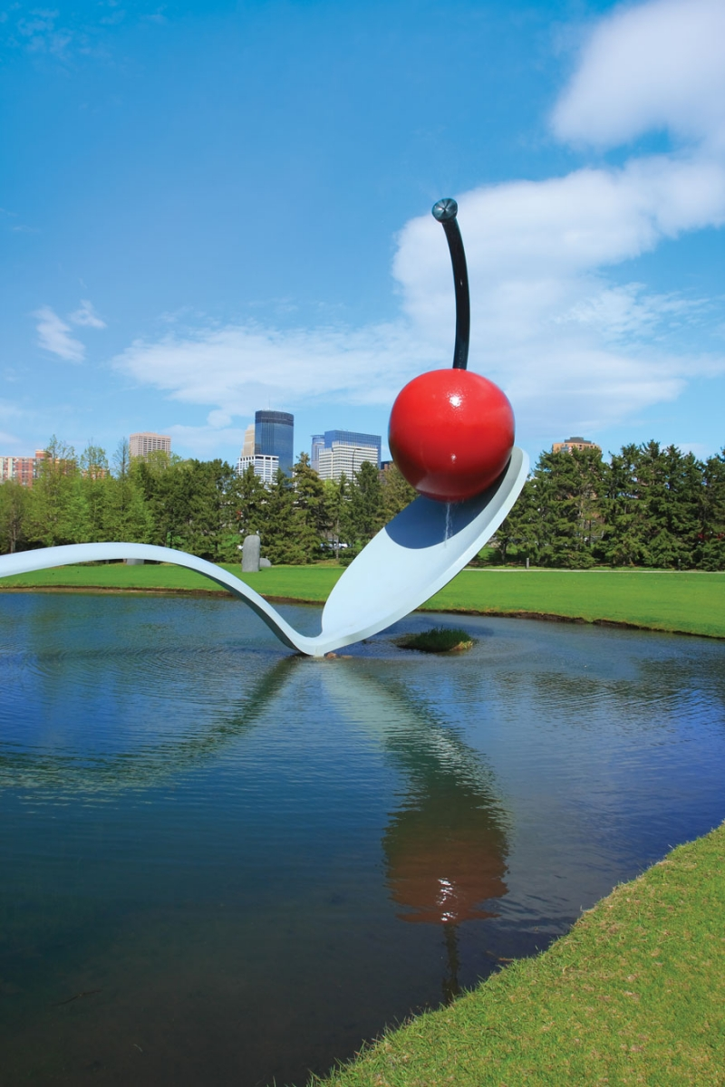 A portrait of the Spoonbridge and Cherry at the Minneapolis Sculpture Garden.