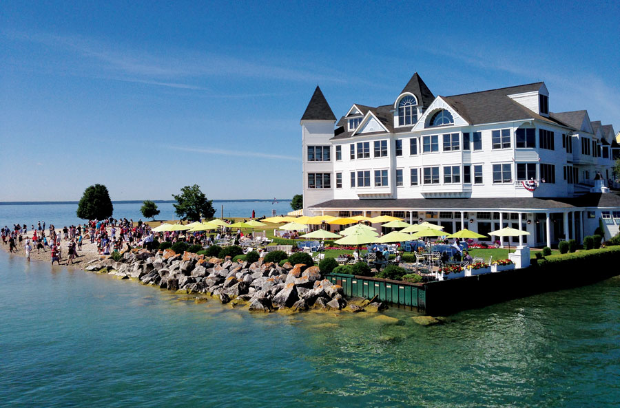 Windermere Pointe Beach at the Iroquois Hotel, site of the Mackinac Island stone skipping competition.