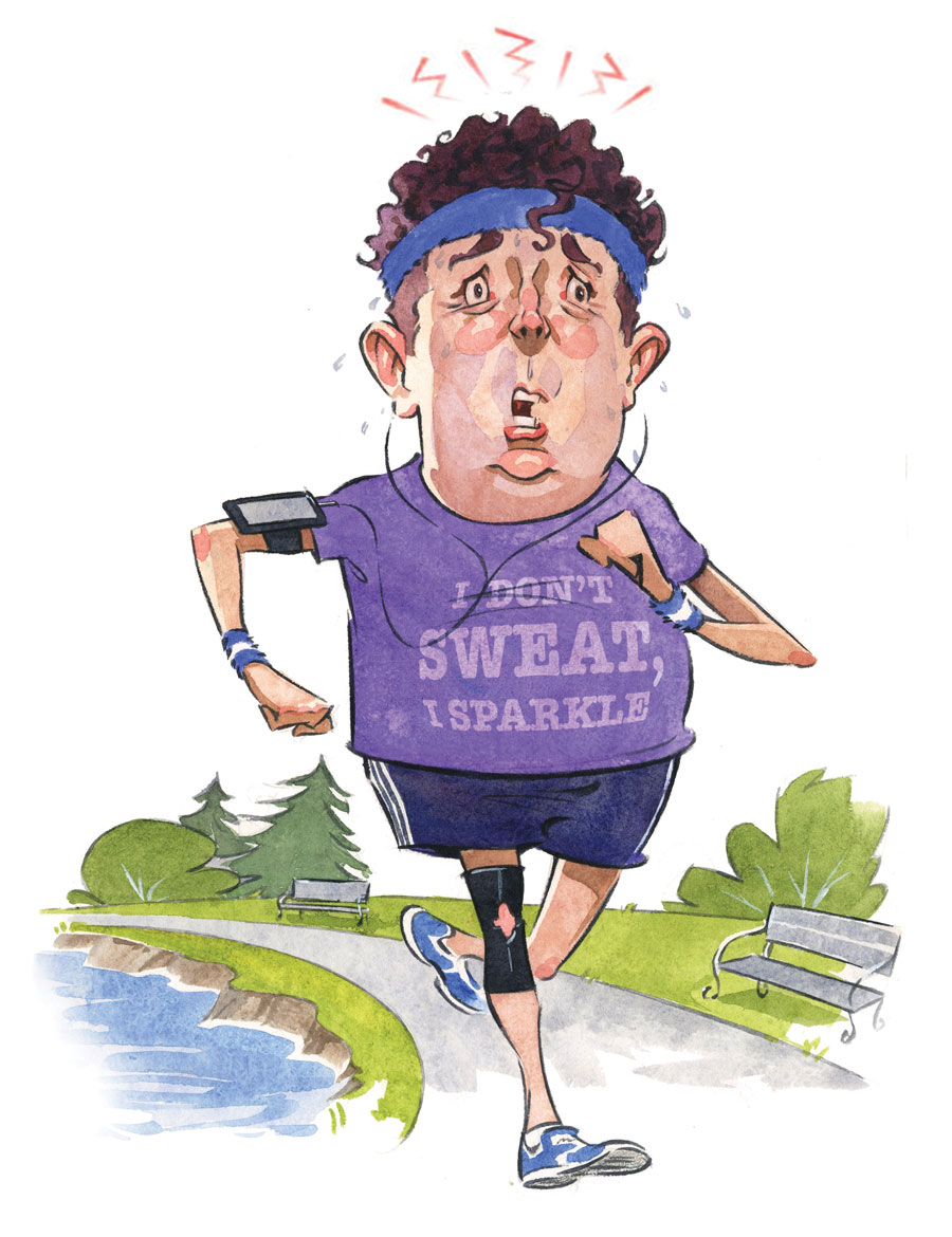 An illustration of man with a knee brace running down a path along a lake.