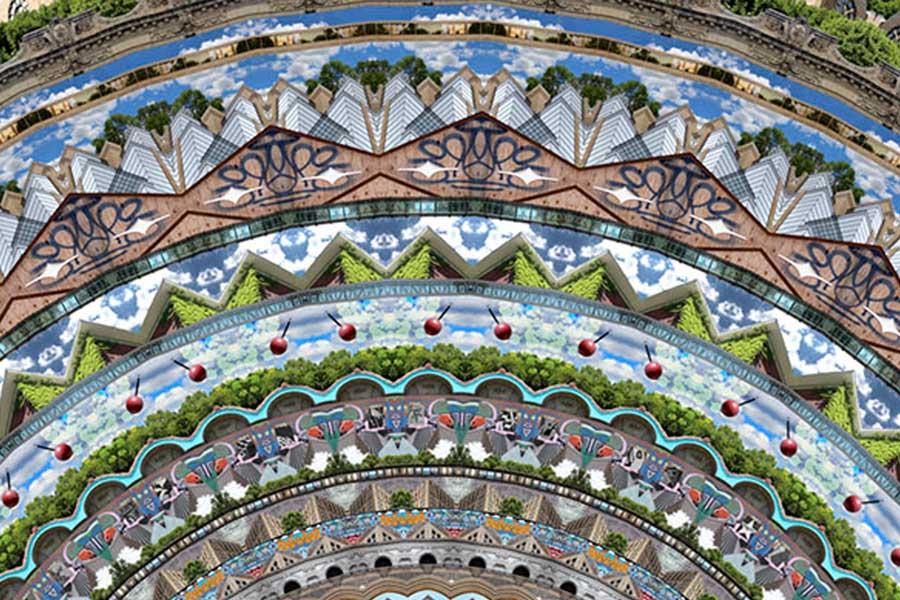 Close-up of Neal Peterson's Minneapolis mandala rug.