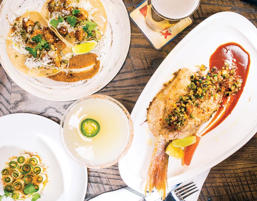 Baja red snapper with mole shrimp tacos and jicama at Baja Haus in Wayzata, Minnesota.