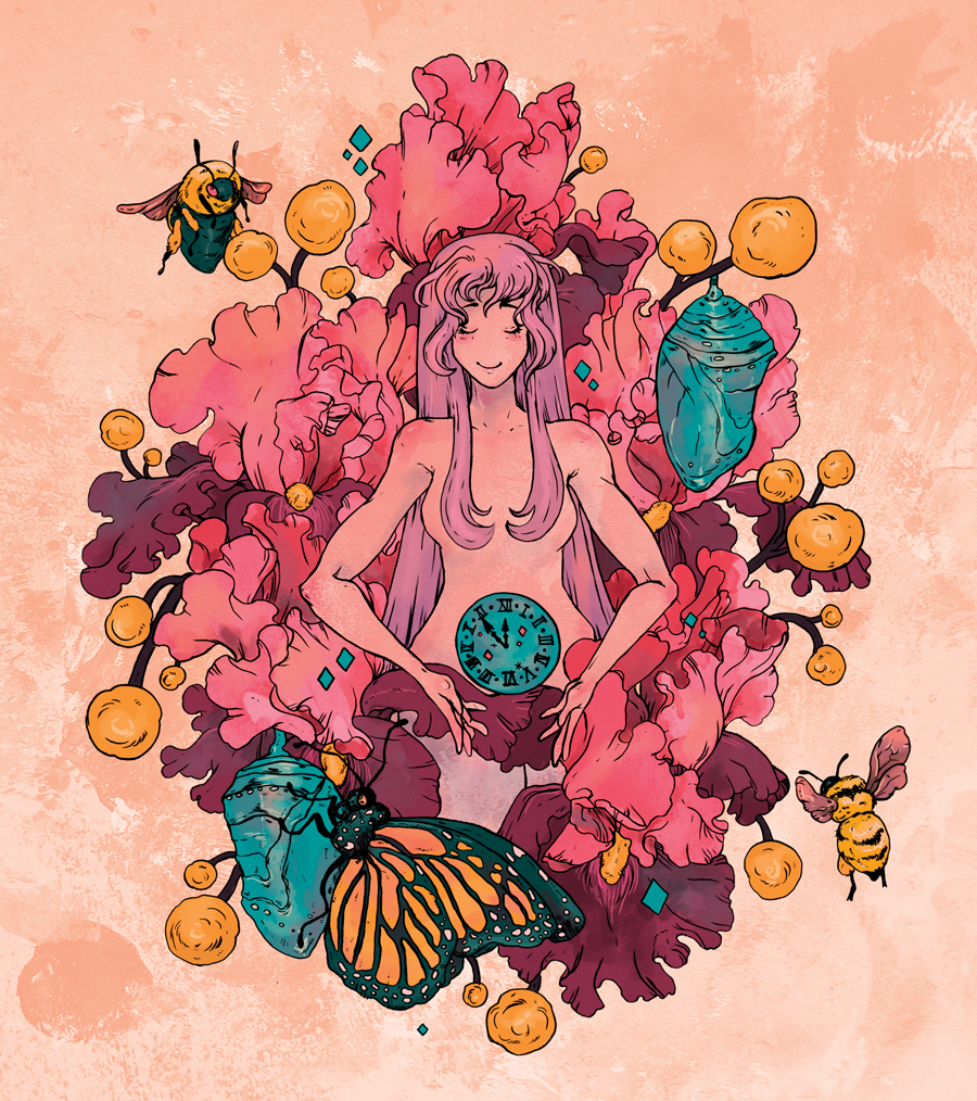 An illustration of a woman surrounded by flowers, bees and butterflies.