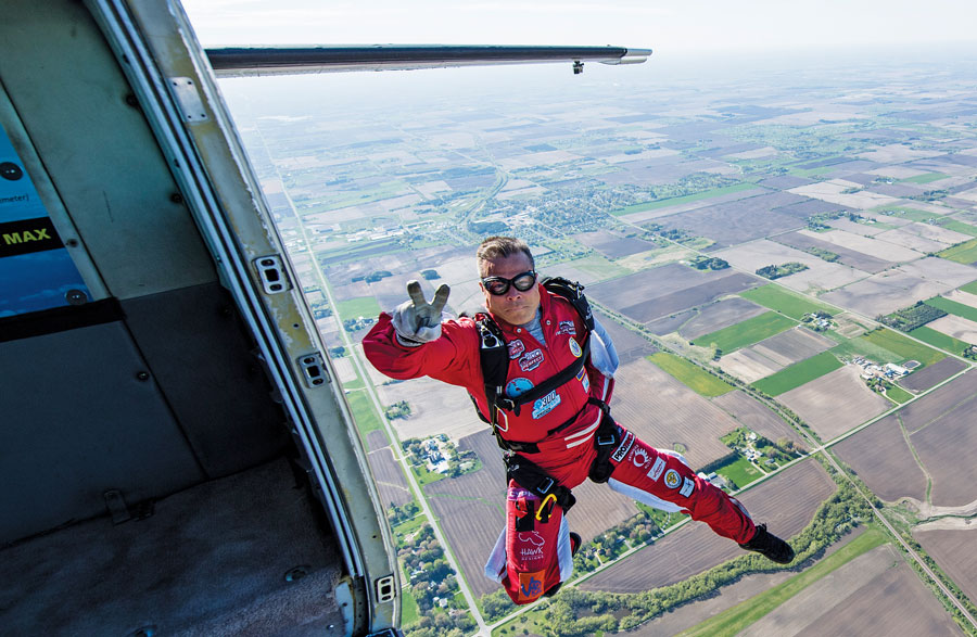 Kevin Burkhart shortly after jumping out of a place.