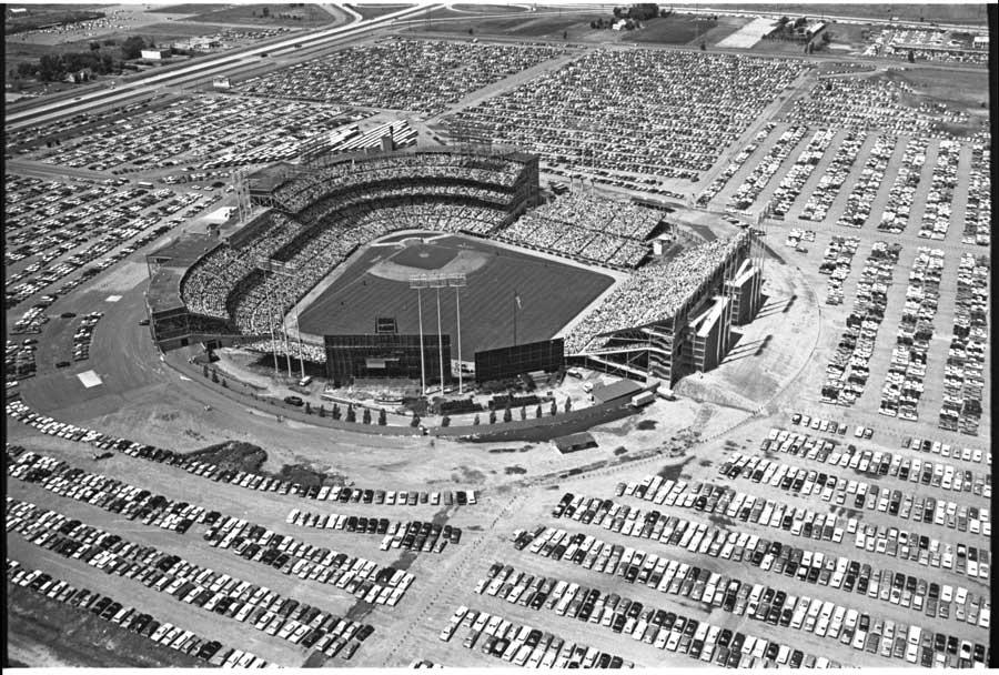 Aerial view of Met Stadium in Bloomington, Minnesota.