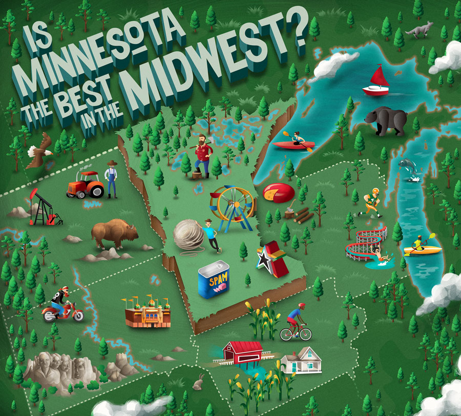 An illustration of Minnesota and the surrounding states.