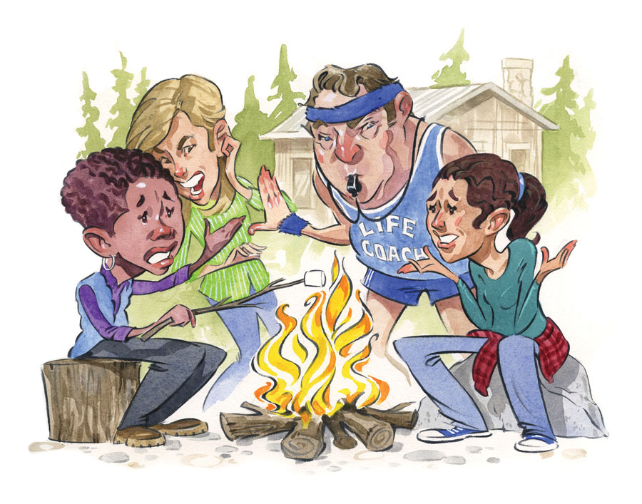 An illustration of people sitting around a campfire at a cabin with a life coach blowing a whistle and getting in the way of a good time.