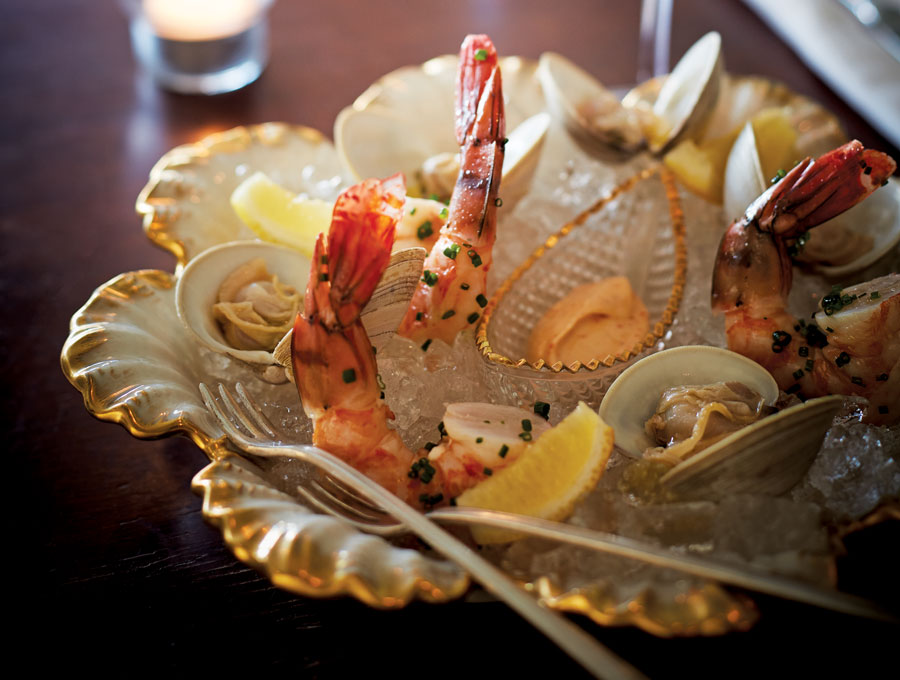 A plate of summery shellfish and rosé at the reinvented Grand Cafe in Minneapolis.