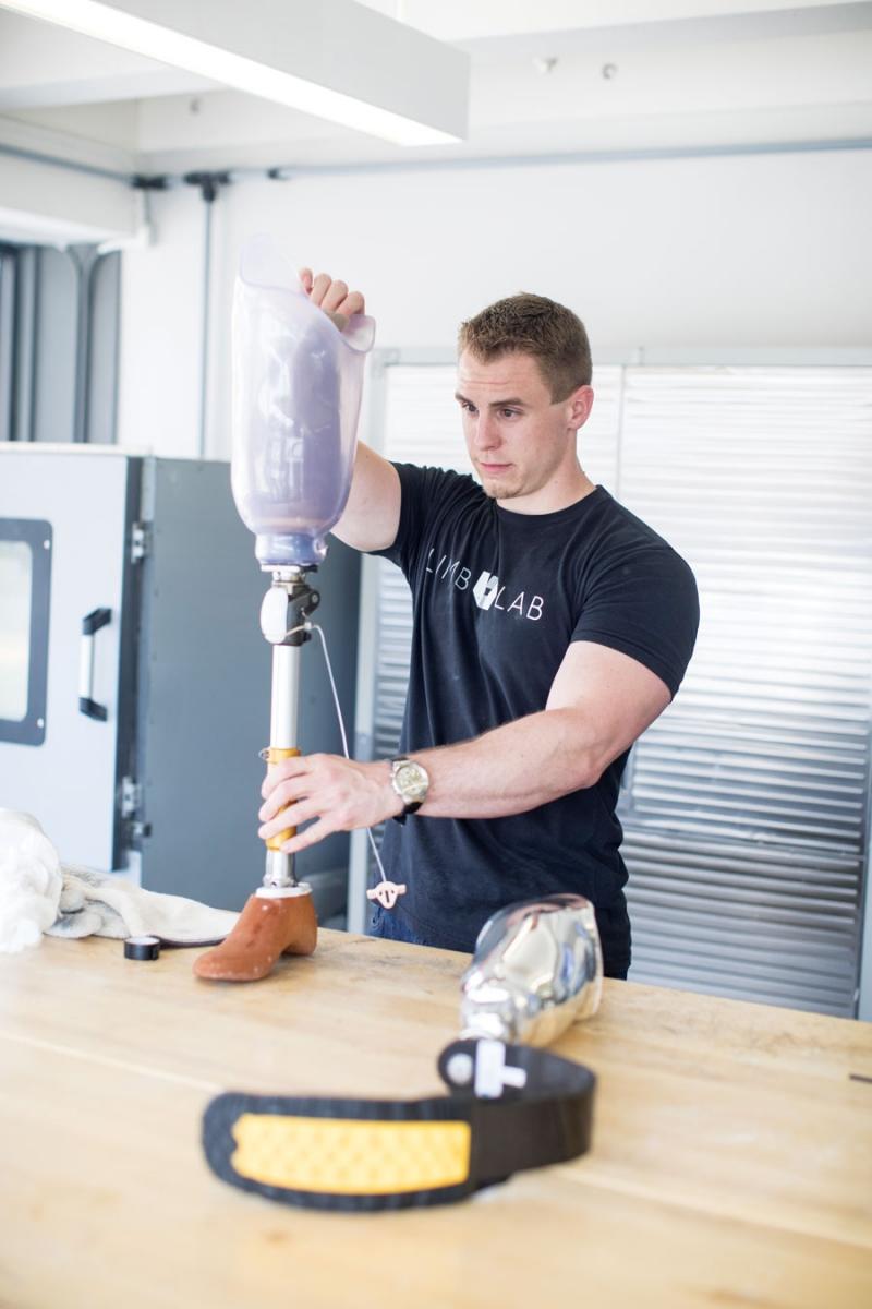 A man making prosthetics at Limb Lab in Rochester, Minnesota.