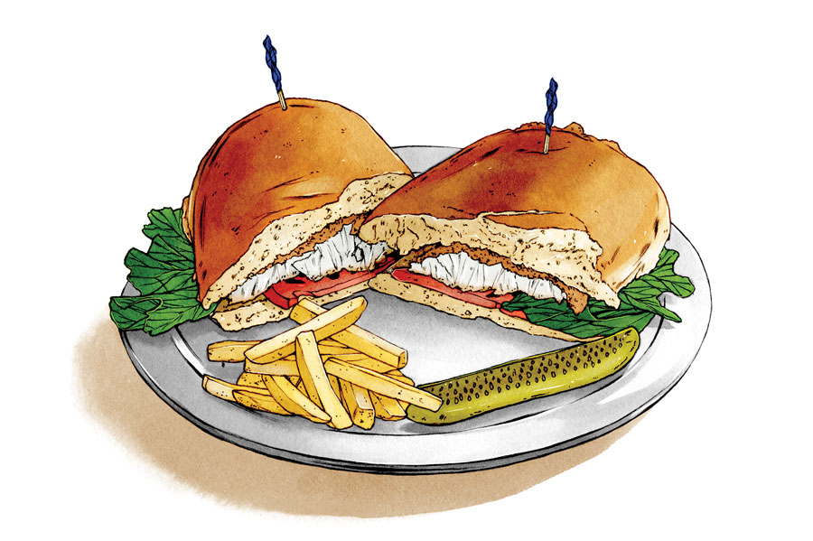 An illustration of a fish sandwich with fries and pickle spear.