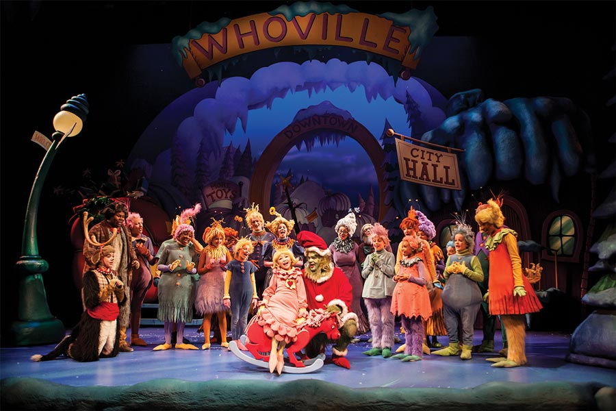 A production of Dr. Seuss's How the Grinch Stole Christmas at Children's Theatre Company.