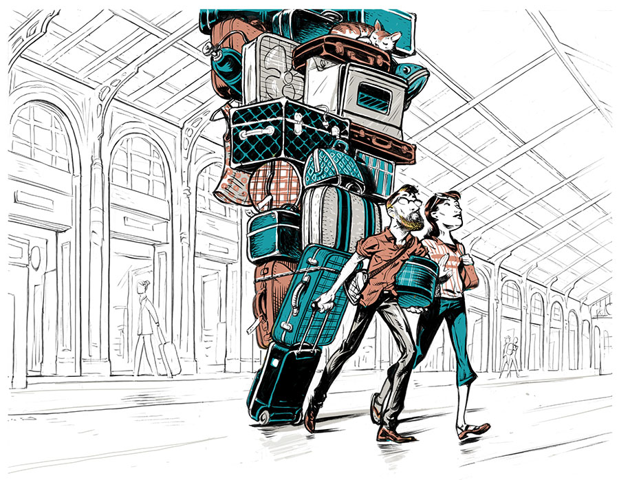 An illustration of a couple traveling towing along luggage.