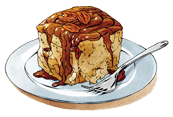 An illustration of a caramel roll.