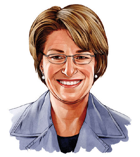 An illustrated portrait of Amy Klobuchar.