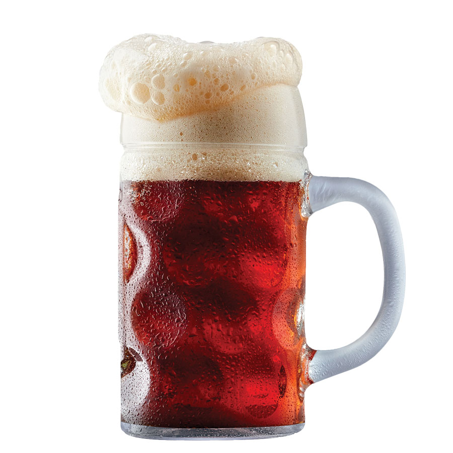 A mug of beer with overflowing suds.