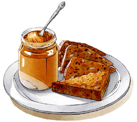 An illustration of the Sausage Bread from Hell's Kitchen. A jar of peanut butter sits nearby.