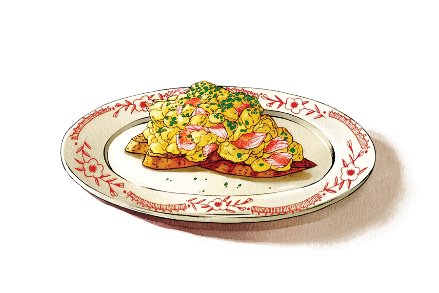 An illustration of Bar La Grassa's Soft Eggs and Lobster Bruschetta.