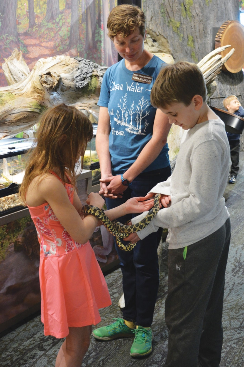 Kids holding and petting a snake at the Jay C. Hormel Nature Center.