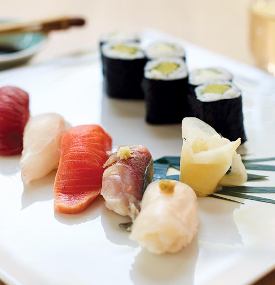 A plate of sushi at Kado No Mise & Kaiseki Furukawa.