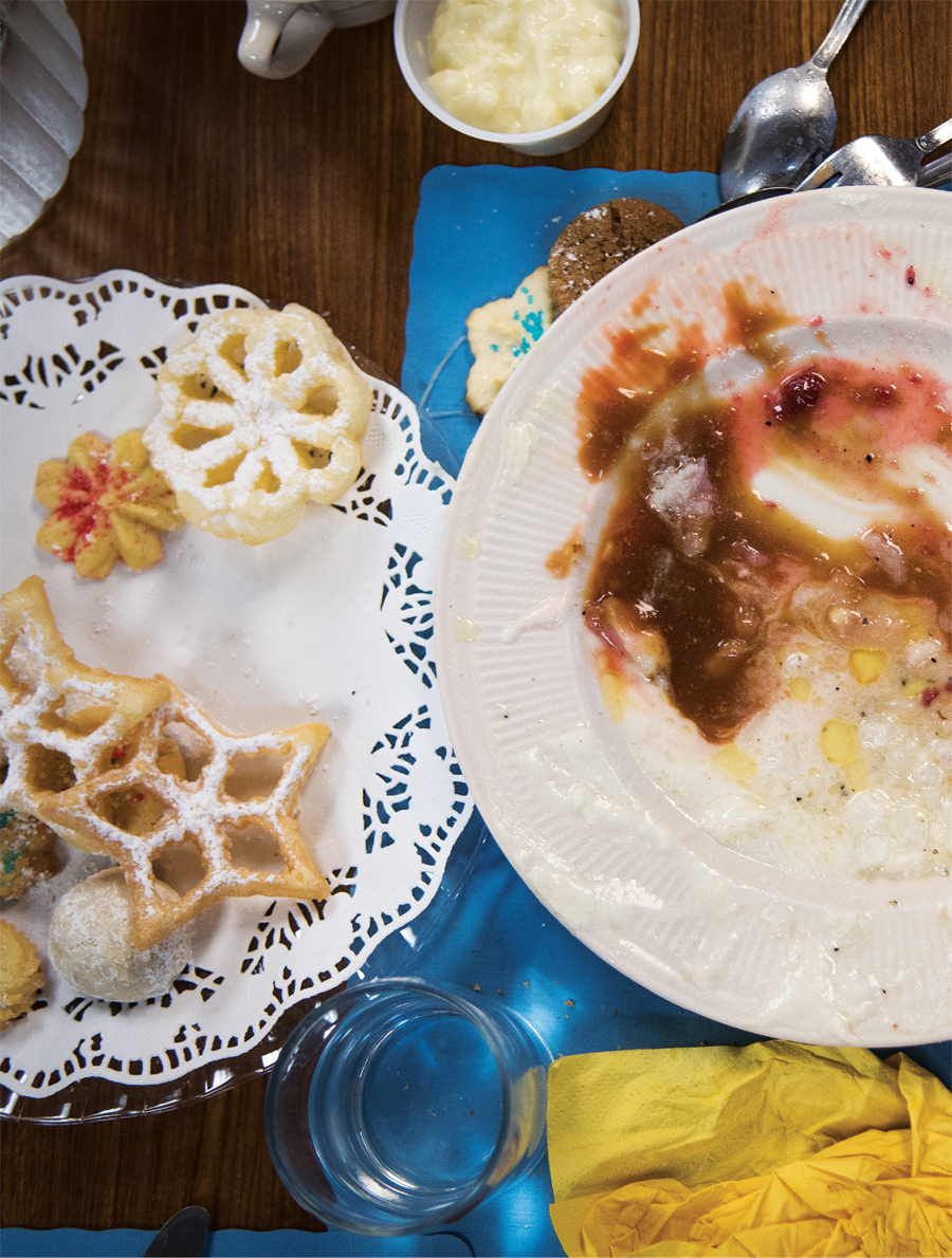 A plate of lutefisk and baked goods.
