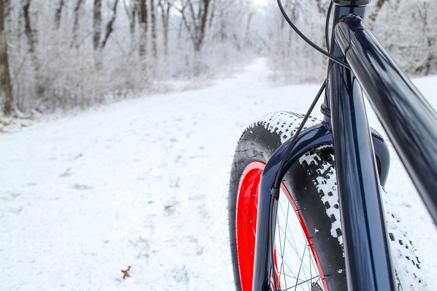A fat bike going down on a winter path.