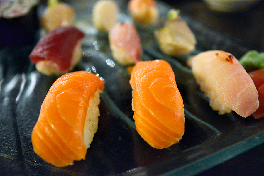 A plate of sushi from Hanabi in Duluth.