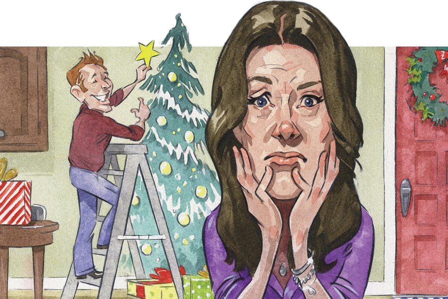 An illustration of a stressed looking woman in the foreground, and a man putting a star on a Christmas tree in the background.