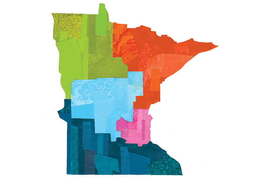 An illustration of Minnesota showing it divided into different sections by color.
