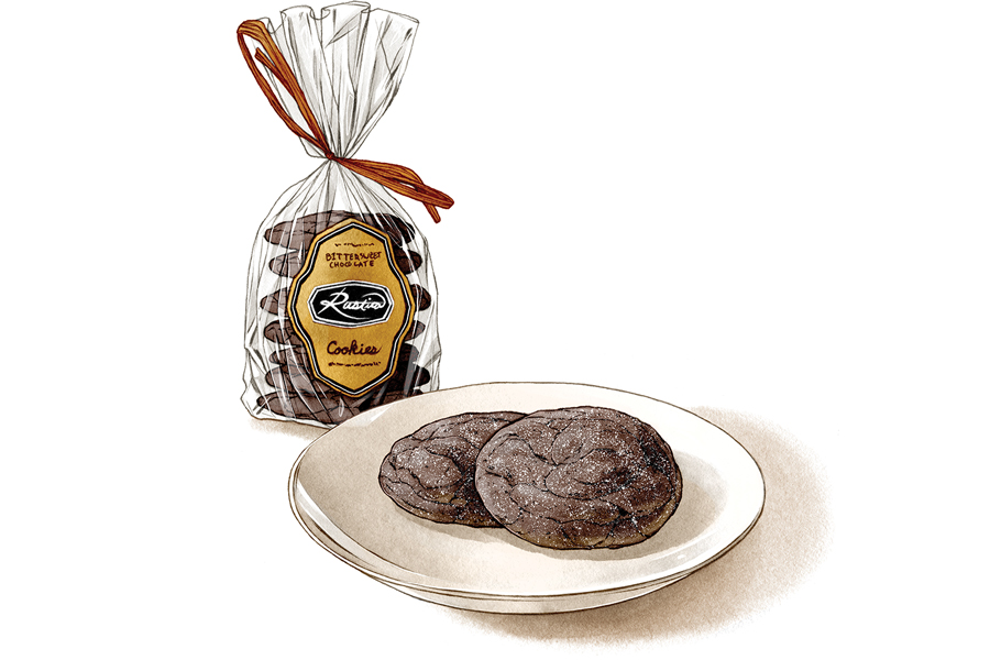 An illustration of chocolate cookies from Rustica