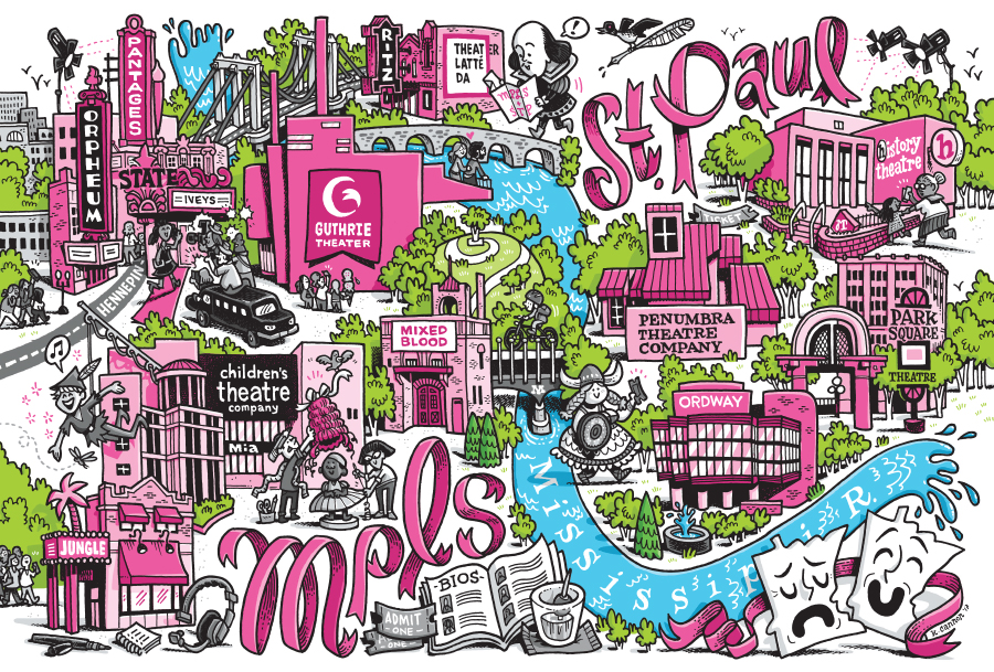 An illustration combining Minneapolis and St. Paul's theater districts.