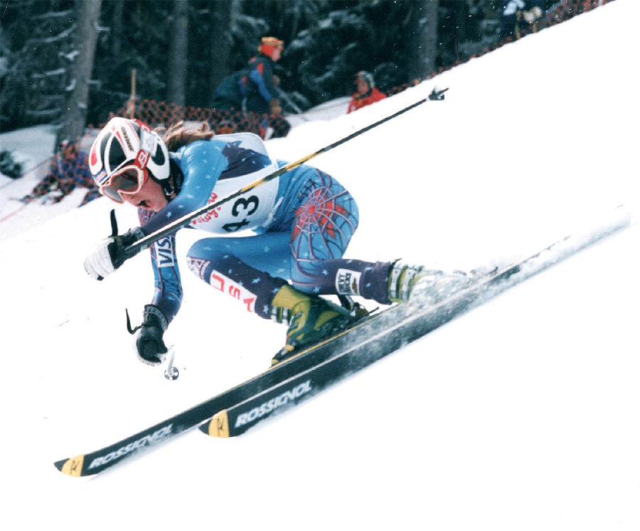 Lindsey Vonn skiing down a hill at the 1997 Whistler Cup.