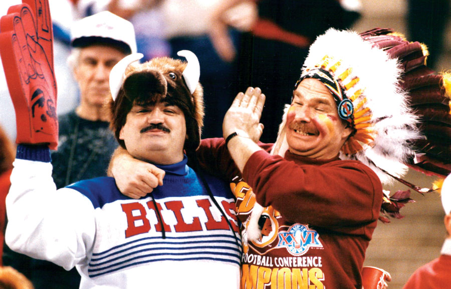 A Redskins and a Bills fan at the 1992 Super Bowl.